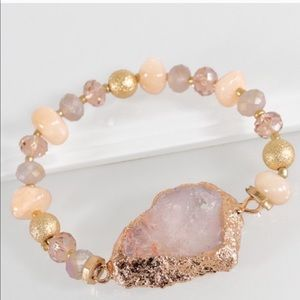 Jewelry - Pink geode cut natural stone bracelet